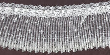 """4"""" WHITE PLEATED LACE WITH BEADING FABRIC TRIM 10 YARDS"""