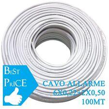 CAVO ALLARME ANTIFURTO SCHERMATO 6X0.22 + 2X.050 BOX MATASSA 100 MT 8 FILI CCA