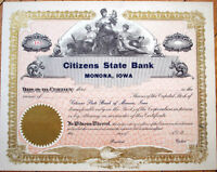1910 Stock Certificate: 'Citizens State Bank' - Monona, Iowa IA