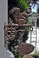 Cast Iron BROWN SQUIRREL on a Bracket with ACORN WELCOME SIGN ~ Wall Mount ~