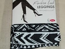NEW LADIES BLACK/WHITE AZTEC FASHION LEGGINGS,BY SILKY,SIZE X-LARGE,HIP 48-54