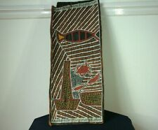 VINTAGE AUSTRALIAN ABORIGINAL ART BARK PAINTING SIGNED R KEMP