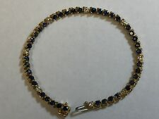 14K gold natural Sapphire and diamond gemstone bracelet OVER 6 CARATS TOTAL!