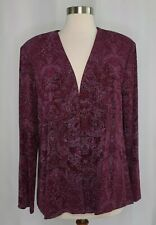 Vtg Alex Evenings Purple Paisley Glittery Open Front Jacket Cover Up Womens Xl