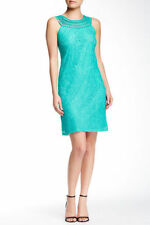 Eliza J Marine Blue Crochet Neck Lace Sheath Dress Woman's Size 10 NEW! 9980