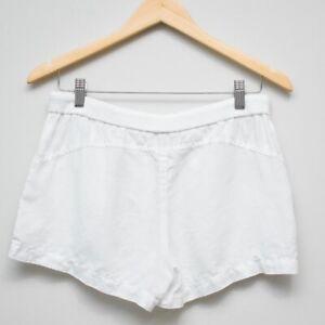 VINCE White Linen High Rise Elastic Waist Shorts Women's Size Small