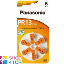6 PANASONIC PR13 PR48 HEARING AID BATTERIES 1.4V ZINC AIR NO MERCURY NEW