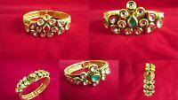 Ethnic Indian Gold Plated Kundan Bracelet/Kada Bollywood Bridal Fashion Jewelry