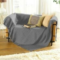 XL SILVER GREY HERRINGBONE 100% COTTON CHAIR  SOFA THROW BEDSPREAD 228x 254cm