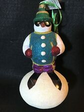 Slavic Treasures ~ Mouth Blown Glass Ornament ~ Hot Doggin' ~ Glitter Snowman