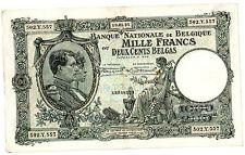 Belgique Belgium Billet 1000 FRANCS 10.01. 1935 200 BELGAS  RARE BON ETAT