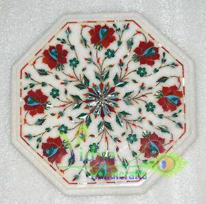 "12"" Marble Coffee Table Top Carnelian Inlay Mosaic Handmade Flower Home Decor"