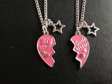 "BIG SISTER LITTLE SISTER PINK HEART & STAR CHARM 18""GIRLS NECKLACE   in gift bag"