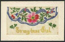 "Silk Embroidered Postcard. ""To My Dear Girl"" France & England Flags. World War 1"