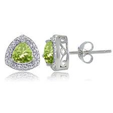 Sterling Silver Peridot & White Topaz Trillion-Cut Stud Earrings