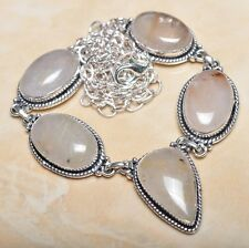 "Handmade Natural Rutilated Quartz Jasper 925 Sterling Silver Necklace 21"" N00557"