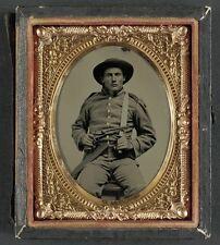Photo Civil War Confederate 10th Virginia Cavalry Private Bowie Knife Colt 1860