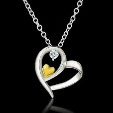 Women Sweet Silver Chain Gold Heart With Crystal Pendant Necklace Jewelry