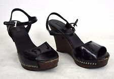 Prada Sandals Black Patente Leather Studded Platform Wedge Shoes 36.5 Womens