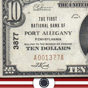 1929 $10 PORT ALLEGANY, PA NATIONAL BANK NOTE  MCKEAN COUNTY  A001377A