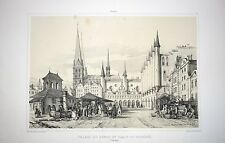 """Germany, Lübeck, large lithograph """"View of Harbor"""" by A.Durand, 1839-1840, rare"""