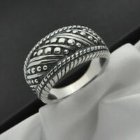 Vintage Ornate Design Band Ring in Solid 925 Sterling Silver ~ Size P ~