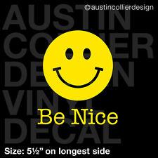 "5.5"" BE NICE vinyl decal car window laptop sticker - happy smiley face"