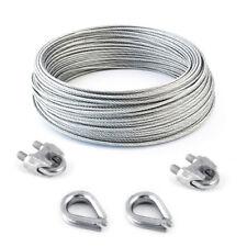 Set Stahlseil verzinkt ab 5 Meter + 2 Klemmen + 2 Kauschen Drahtseil Seile