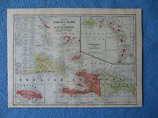 1899 Lithograph Map of Jamaica, Haiti, San Domingo, Puerto Rico, Lesser Antilles