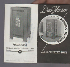Duo-Therm Oil Burning Heaters Brochure 1936 Motor Wheel Corp Lansing Michigan