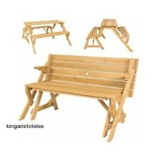 2 In 1 Patio Table Bench Outdoor Garden Furniture Convertible Wooden Picnic New