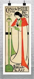 Glasgow Institute Of The Fine Arts Vintage Poster Rolled Canvas Giclee 17x38 in.