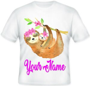Gorgeous Kids Girls Sloth Pink Flowers Character T shirt Great gift Idea!