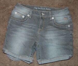 Justice Girls Size 14 Regular Gray Denim Jean Shorts