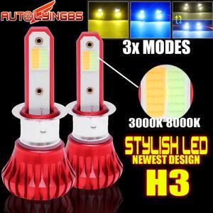 H3 LED 3000K+8000K+Strobe Flashing Truck Fog Light Driving Lamp Bulb Yellow+Blue