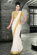 Parimantra Fashion Designer White Wedding and Partywear saree