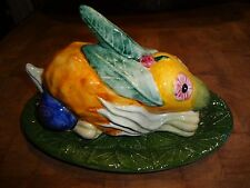 Vintage Vietri Covered Rabbit Butter Dish/Majolica, Italy, Neiman Marus