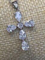"Vintage Necklace Beautiful Wow Cubic Zircronia Cross Pendant Necklace 18"" Chain"