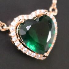"4 Ct Heart Cut Green Emerald Pendant Necklace 18"" Chain 14K Rose Gold Plated"