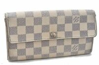 Auth Louis Vuitton Damier Azur Portefeuille Sarah Long Wallet N61735 LV A6502