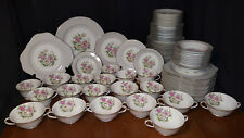 Noritake China Huge Dinnerware Set 91 Pieces Gray W/ Pink & Yellow Floral Center