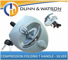 Silver Compression Folding T Lock / Handle (Trailer Caravan, Toolbox) Drop T