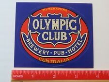 Beer STICKER ~*~ McMENAMINS Olympic Club Brewery, Hotel ~ Centralia, WASHINGTON
