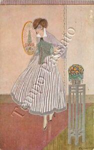 Donna in abito viola - 1917 / illustratore Gillone