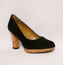 Clarks Black Suede Genuine Leather Peeptoe Heels Ladies Womens Uk Size 5