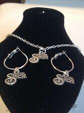 special mum  necklace and matching hoop earrings-silver plated 18 inch chain