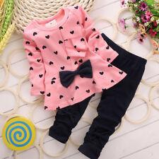2 Piezas Recién Nacido Niños Bebe Niña Lazo Suéter Camiseta + Pantalones largos