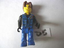 LEGO JACK STONE figura Gambe Blu Nero e Blu tronco Marrone Capelli (D5)