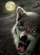 Night and Wolf Lenticular 3D Picture Animal Poster Painting Home Wall Art Decor
