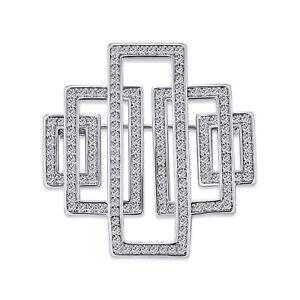 Art Deco Vintage Style Large Rectangular Cubic Zirconia Brooch Pin